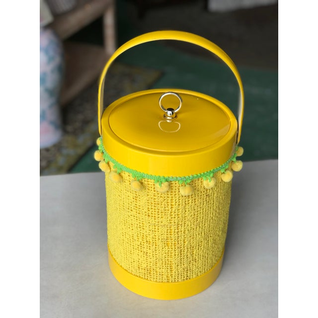 Green Vintage Mid-Century Modern Yellow Fringed Ice Bucket For Sale - Image 8 of 10