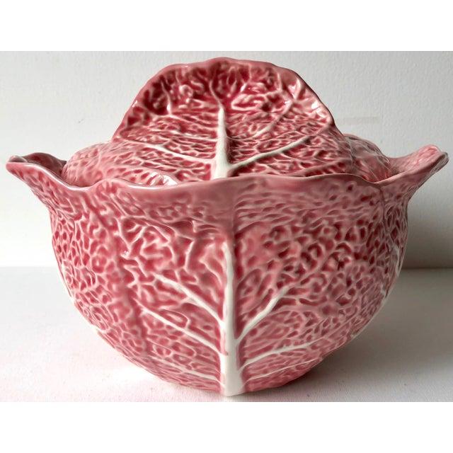 Pink Bordado Pinheiro Pink Cabbage Leaf Majolica Tureen, Lid, Platter& Ladle For Sale - Image 8 of 11