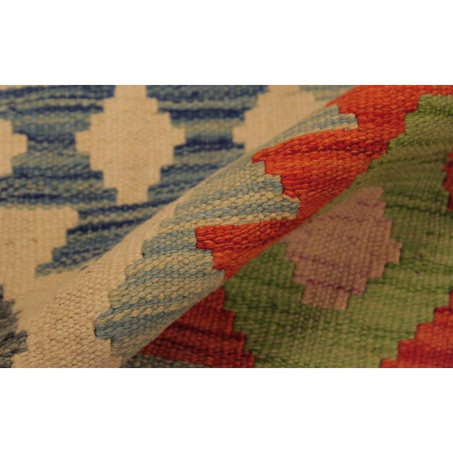 Shabby Chic Sylvie Ivory/Rust Hand-Woven Kilim Wool Rug -6'7 X 9'8 For Sale - Image 4 of 8
