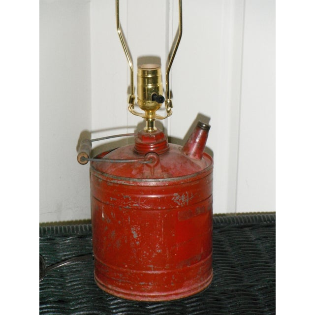 Vintage Gas Can Table Lamp and Shade - Image 4 of 5