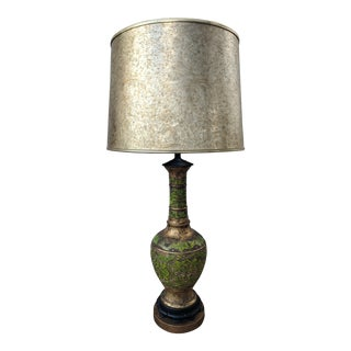 Mid Century Modern Moroccan Style Brass and Chartreuse Enamel Lamp For Sale