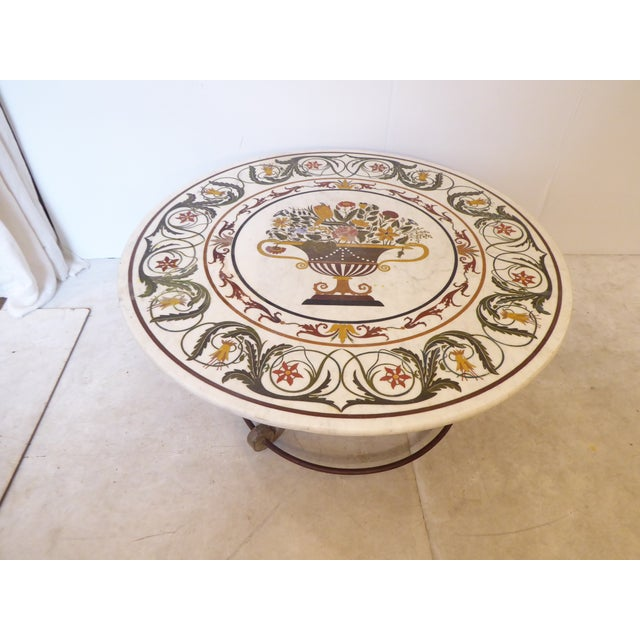 White Vintage Italian Inlay White Marble Coffee Table For Sale - Image 8 of 8