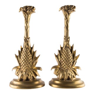 Heavy Solid Brass Pineapple Bookends For Sale