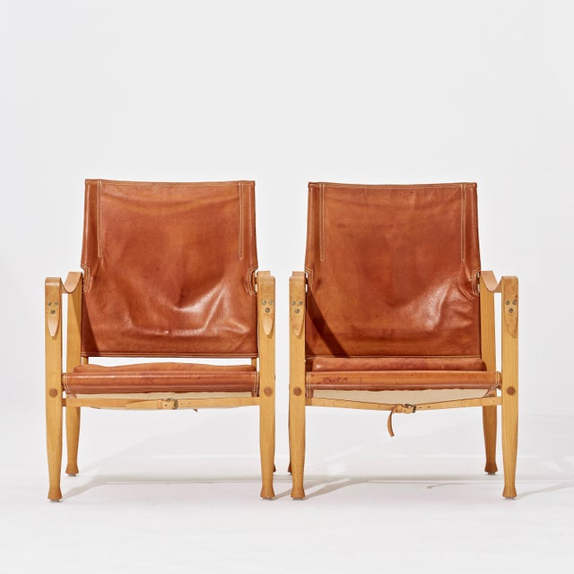 Mid-Century Modern A Pair of Kaare Klint Safari Chairs and Ottomans, Rud Rasmussen, Denmark, 1960s For Sale - Image 3 of 6