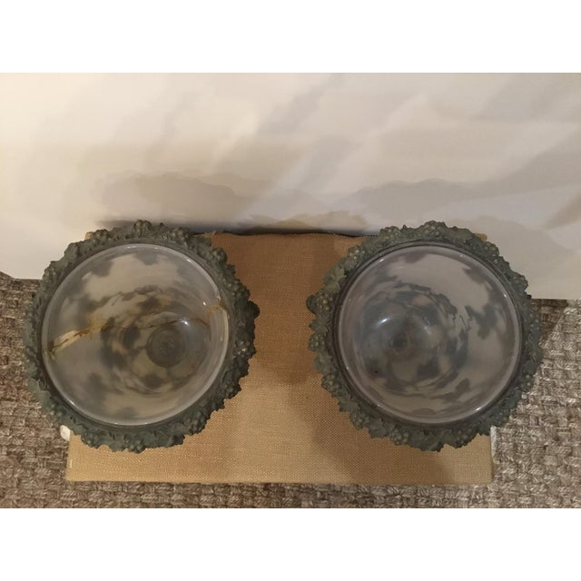Metal 19th Century Antique Glass and Metal Urns - a Pair For Sale - Image 7 of 9