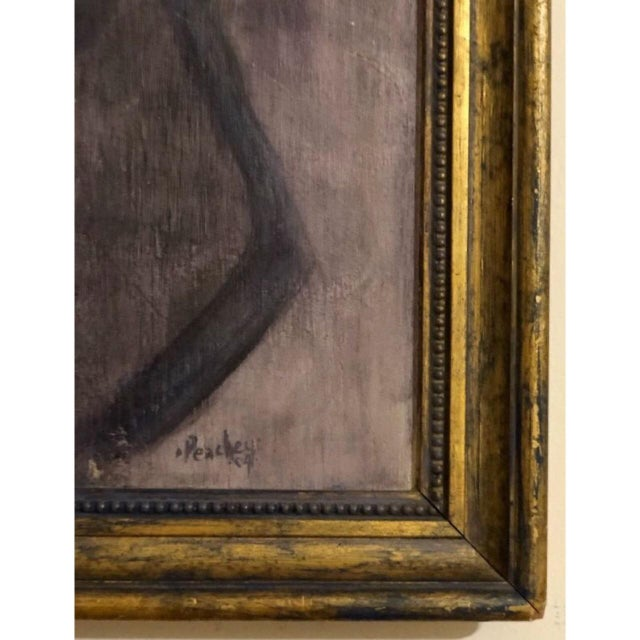 Abstract Vintage Modern Abstract Portrait Painting For Sale - Image 3 of 5