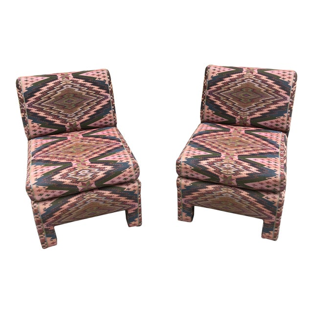 Mid Century Century Furniture Parsons Style Slipper Chairs- A Pair For Sale