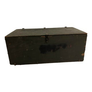 Vintage Industrial Green Military Foot Locker Storage Trunk For Sale