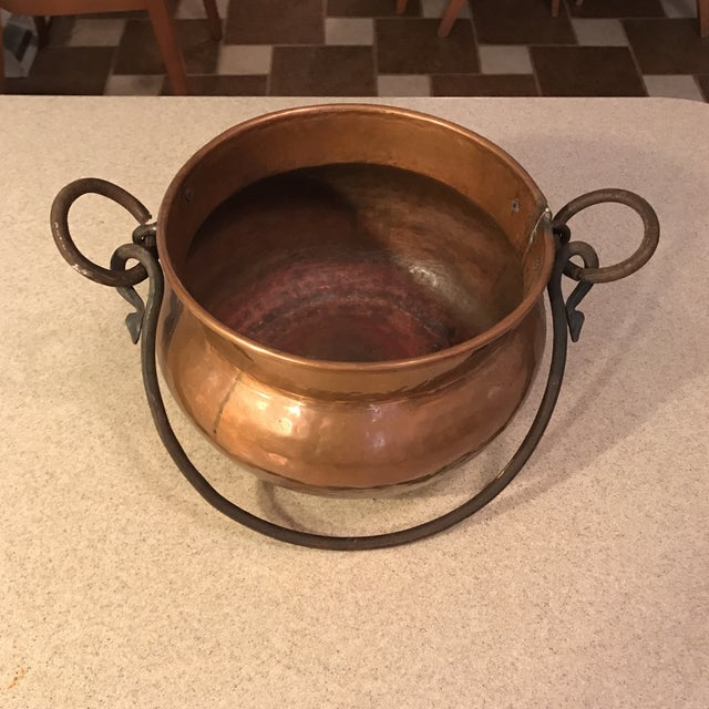 Country Antique Copper Cauldron Planter For Sale - Image 3 of 11