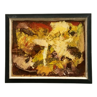 Mid Century Abstract Painting Vintage Mixed Media