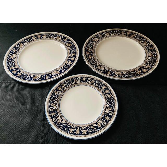 Wedgwood Dinner and Salad Plates Florentine, England - Set of 3 For Sale - Image 10 of 10