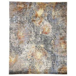 Contemporary Wool & Silk Area Rug - 8′ × 9′10″ For Sale