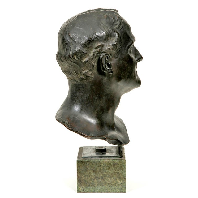Traditional 1910s Glasgow School Bronze Bust Sculpture by Francis Derwent Wood For Sale - Image 3 of 6