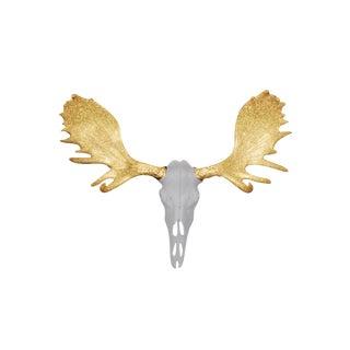 Wall Charmers Alberta Faux White + Bronze Antlers Resin Antlers Resin Moose Head Skull