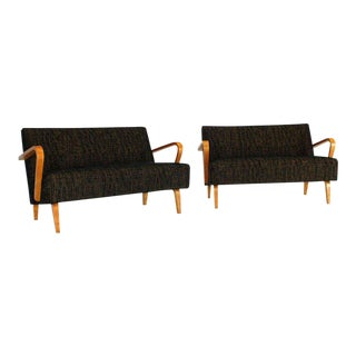 Pair of Mid-Century Modern Loveseats, New Upholstery For Sale