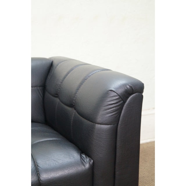 Black Mid Century Modern Black Faux Leather Tufted Club Chair For Sale - Image 8 of 10