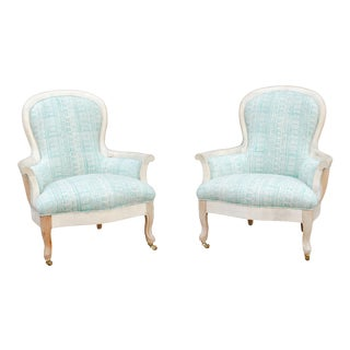Pair of Blockprint Bergere Bleached Chairs For Sale