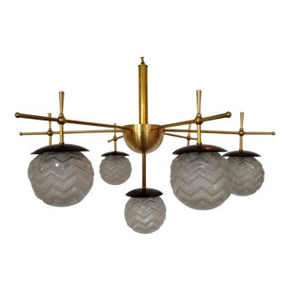 1960s Art Deco Dutch Glass, Enamel and Solid Brass Chandelier For Sale