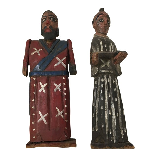 Vintage St. Peter & St. Paul Wood-Carved Hand-Painted Christian Icon Santos Figures - a Pair For Sale