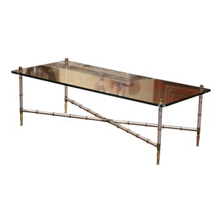 Vintage French Chrome and Glass Faux Bamboo Coffee Table From Maison Jansen For Sale
