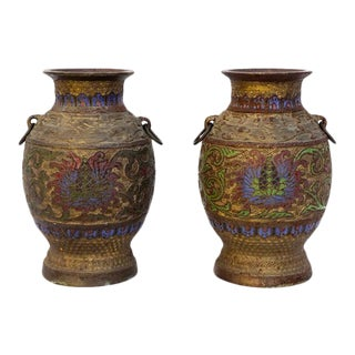 Pair of Antique Japanese Champleve Bronze Vases | 19th Century Enamel Double Handle Heavy-Weight Urns For Sale