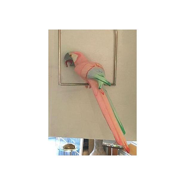 Blue Papier Mache Parrot On Perch For Sale - Image 8 of 8