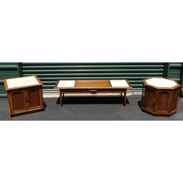 Lane Maple With Marble Insets Coffee & End Table Living Room Group - 3 Pc. Set For Sale - Image 11 of 11