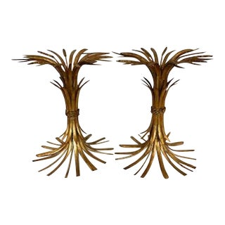 1950s Hollywood Regency Gold Tone Wheat Table Bases - A Pair For Sale