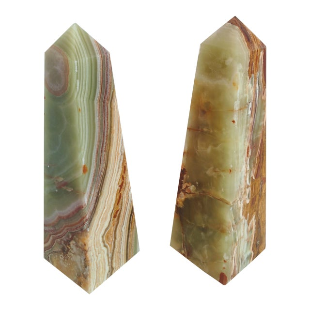 Modern Onyx Obelisks - A Pair - Image 1 of 10
