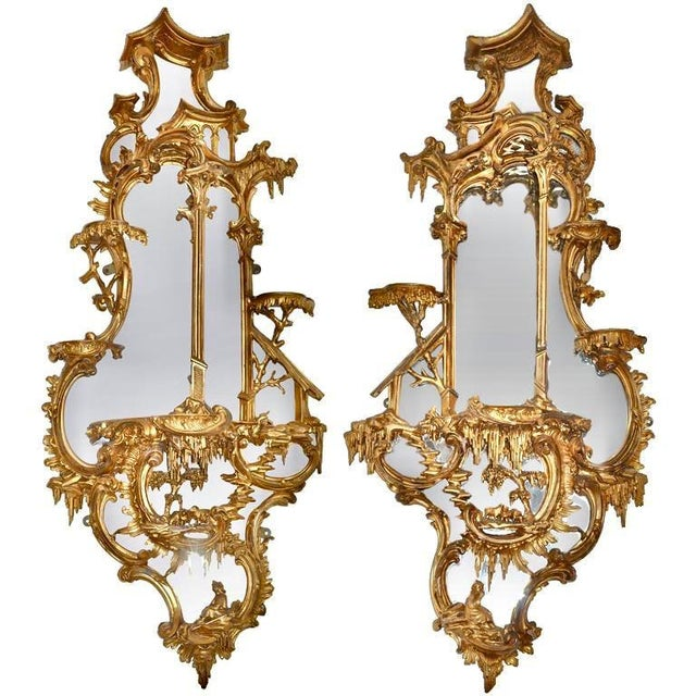 Pair of 18th Century Girandole Mirrors Attributed to Thomas Johnson For Sale - Image 11 of 11
