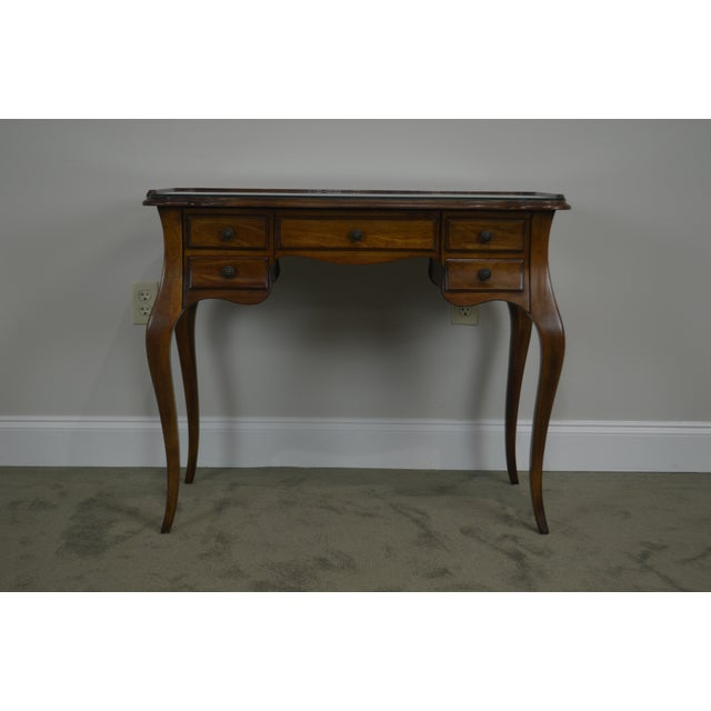 1960s French Louis XV Style Vintage Walnut Small Writing Desk or Vanity For Sale - Image 5 of 13