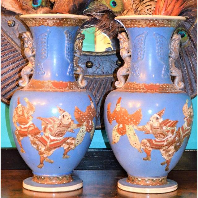 Antique Japanese Blue Satsuma Samurai Vases - a Pair For Sale - Image 11 of 11
