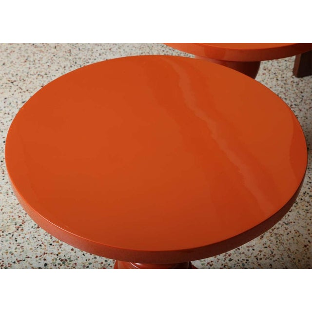 Architectural Mid Century Modern Side Tables, Orange Lacquered 1960s. - Image 5 of 11