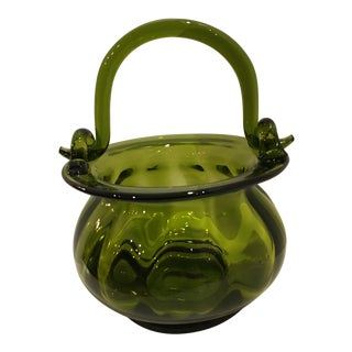 1960s Vintage Hand Blown Avocado Green Basket For Sale