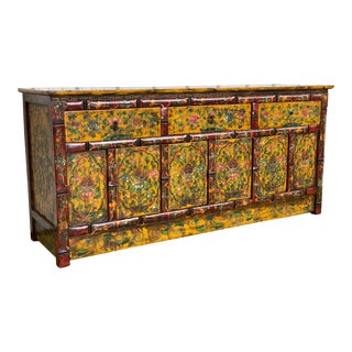 Vintage Tibetan Lotus Painted Credenza Sideboard For Sale