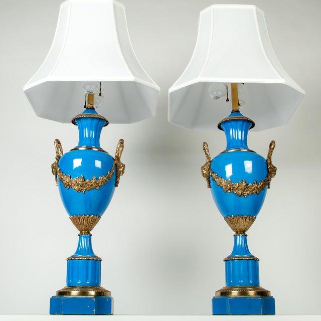 Antique Blue Brass Detail Porcelain Lamps - a Pair For Sale - Image 4 of 5