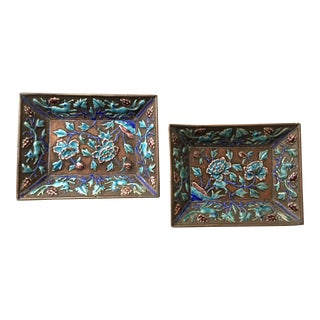 Antique Chinese Enamel Pin Trays - a Pair For Sale