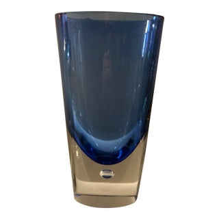 1960s Vintage Antonio Da Ros for Av Mazzega Signed Murano Italy Cobalt Blue Suspended Bubble Vase For Sale