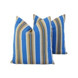 Image of Custom Tailored Blue & Tan French Ticking Feather/Down Pillows - Pair For Sale