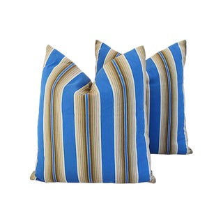 Custom Tailored Blue & Tan French Ticking Feather/Down Pillows - Pair For Sale