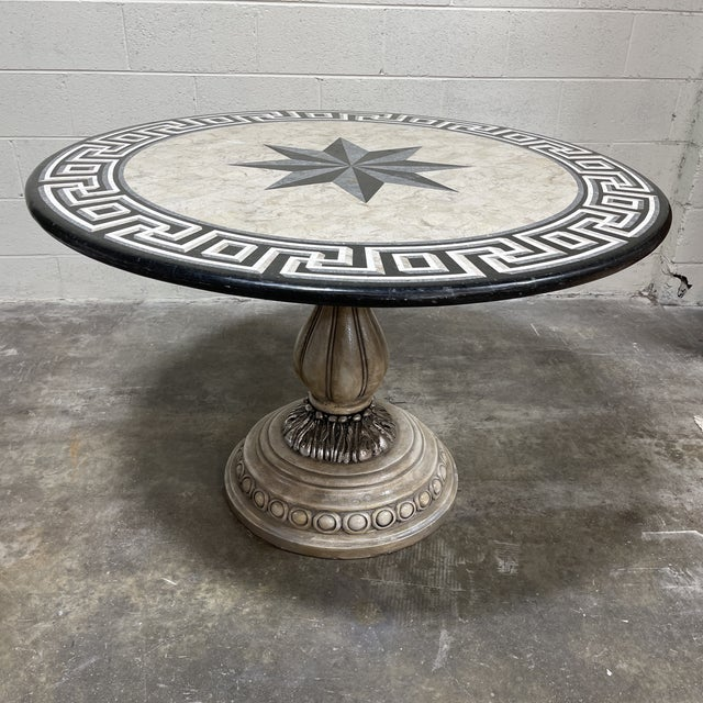 Tessellated Stone Top Greek Key Entryway Game Table For Sale - Image 12 of 12