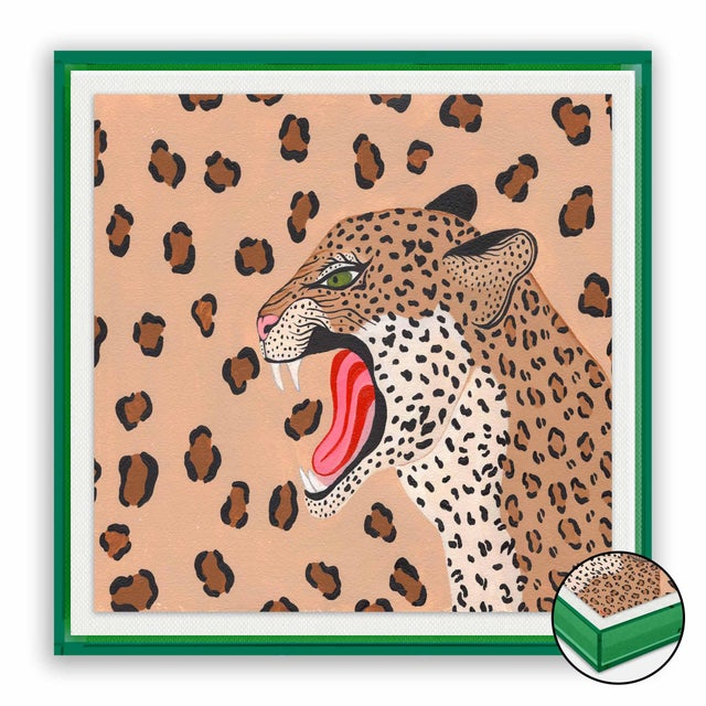 Contemporary Vanessa the Leopard by Willa Heart in Dark Green Transparent Acrylic Shadow Box, Small Art Print For Sale - Image 3 of 3