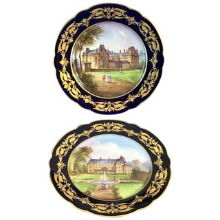 Pair of Sevres Chateau Plates For Sale