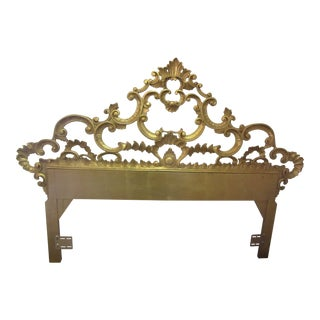 1950s Hollywood Regency Gold Gilt Metal Queen Size Headboard For Sale