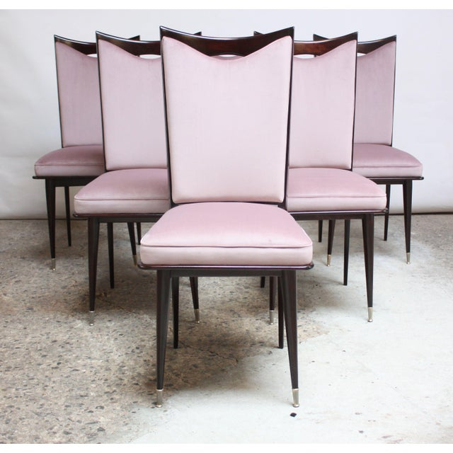 Set of six midcentury Italian dining chairs in beautifully crafted stained mahogany with a deeply sculpted top rail...