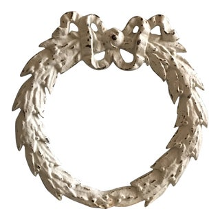 Vintage White Wrought Iron Bell Flower Wreath For Sale
