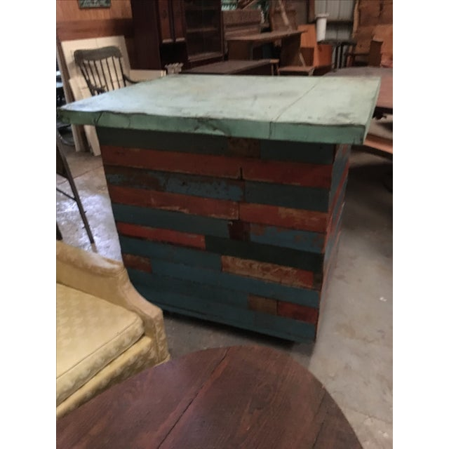 Vintage Copper Top Chippy Wood Cabinet - Image 4 of 6