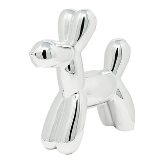 "Interior Illusions Plus Silver Mini Balloon Dog Bank - 7.5"" Tall For Sale"