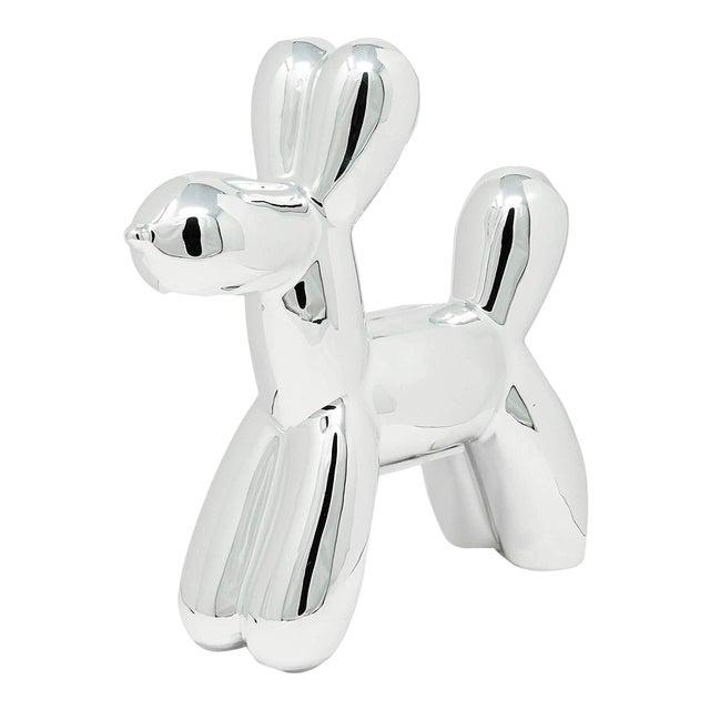 "Interior Illusions Plus Silver Mini Balloon Dog Bank - 7.5"" Tall For Sale"