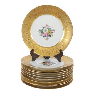 Bavarian Hutchenreuther Gilt Encrusted Plates - Set of 12 For Sale